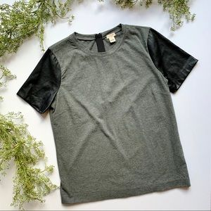 J Crew | Gray Top with Faux Leather Sleeves